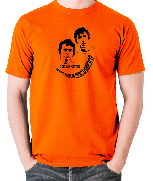 Derek And Clive - Peter Cook and Dudley Moore - Can We Have a Sensible Discussion? - Men's T Shirt - orange