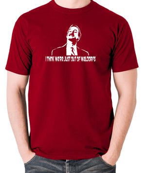 Fawlty Towers - Basil, I Think We're Just Out Of Waldorfs - Men's T Shirt - brick red