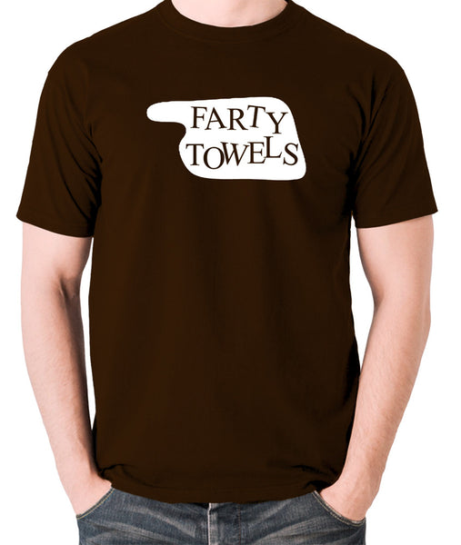 Fawlty Towers - Farty Towels Sign - Men's T Shirt - chocolate