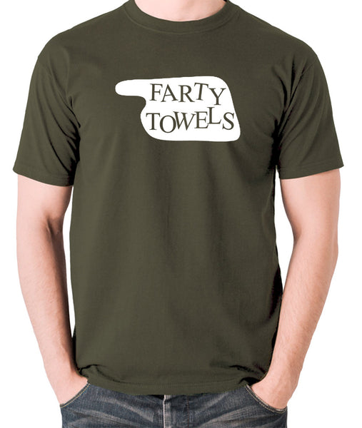 Fawlty Towers - Farty Towels Sign - Men's T Shirt - olive