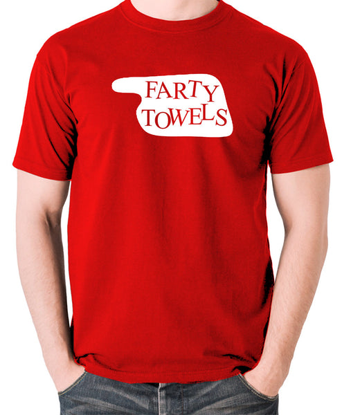 Fawlty Towers - Farty Towels Sign - Men's T Shirt - red