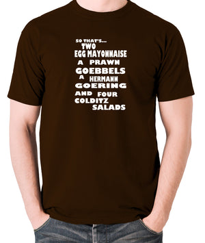 Fawlty Towers - The German's Order, Colditz Salad - Men's T Shirt - chocolate