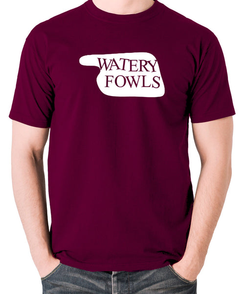 Fawlty Towers - Watery Fowls Sign - Men's T Shirt - burgundy