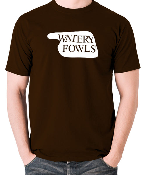 Fawlty Towers - Watery Fowls Sign - Men's T Shirt - chocolate