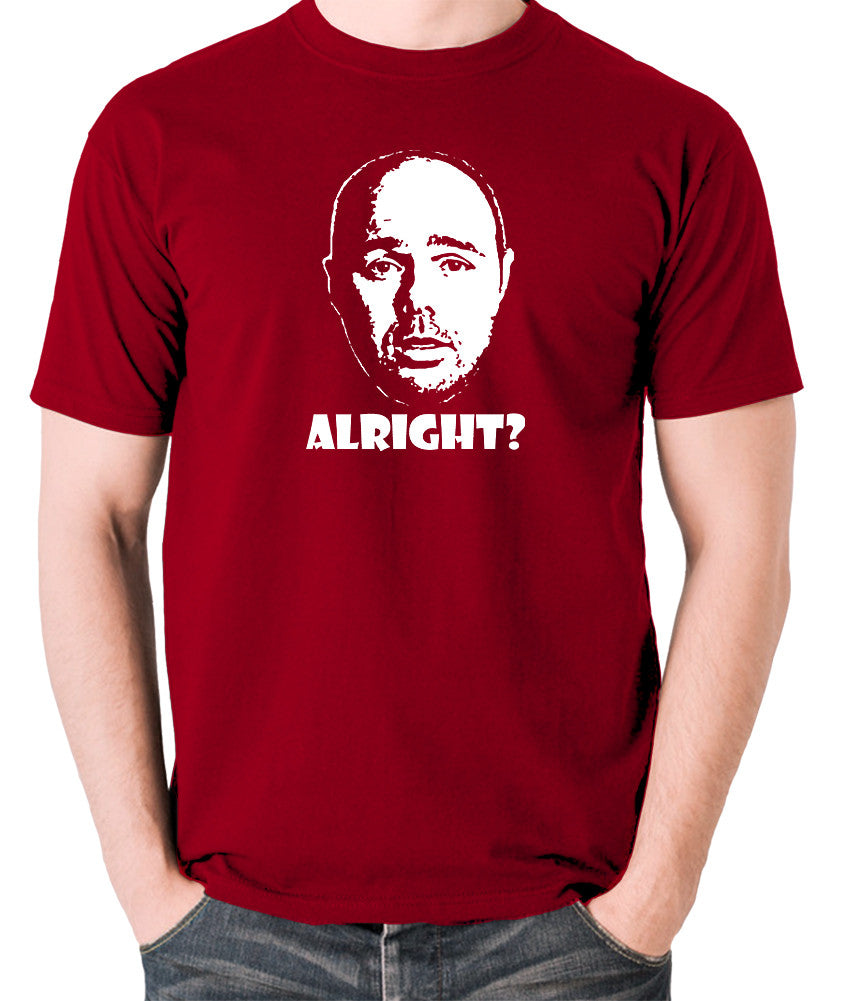 Karl Pilkington, Idiot Abroad, Ricky Gervais Show - Alright - Men's T Shirt - brick red