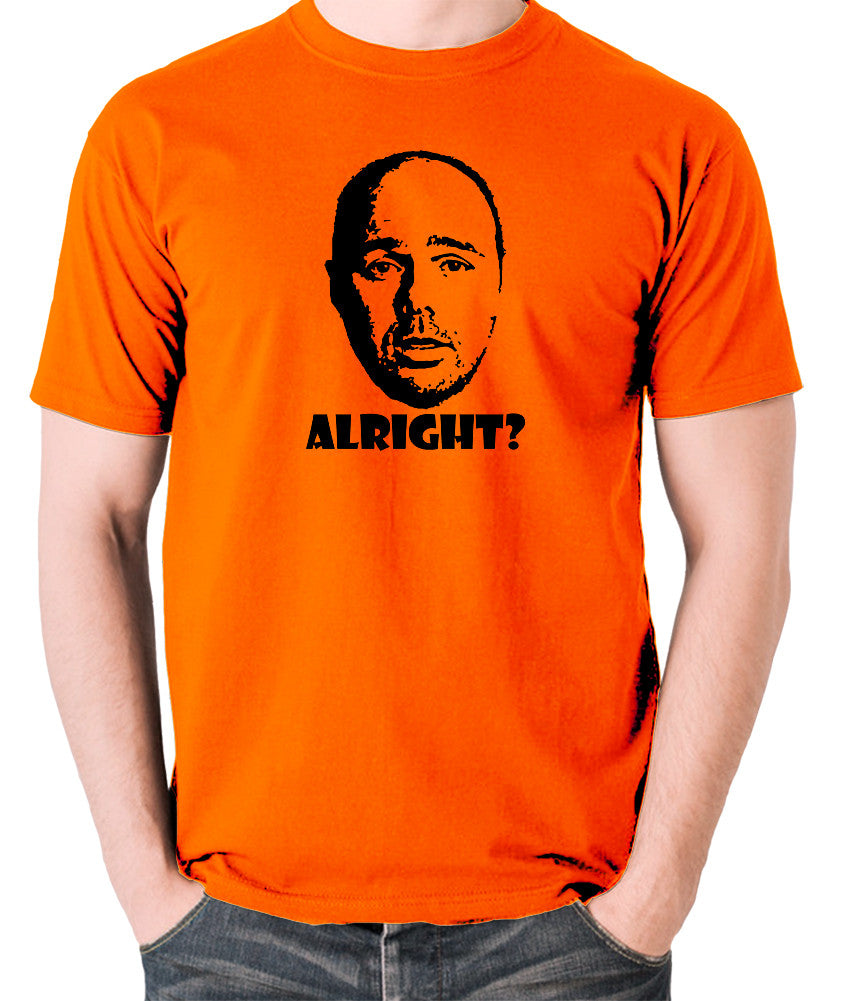 Karl Pilkington, Idiot Abroad, Ricky Gervais Show - Alright - Men's T Shirt - orange