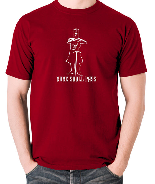 Monty Python and the Holy Grail - The Black Knight, None Shall Pass - Men's T Shirt - brick red