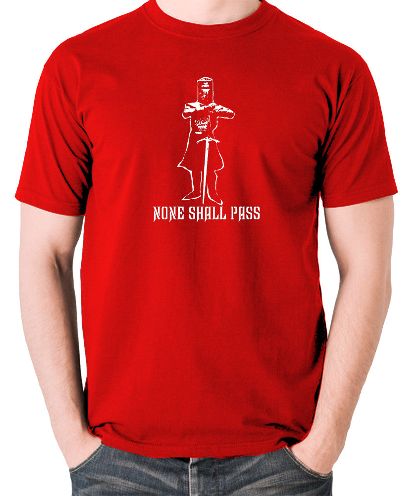 Monty Python and the Holy Grail - The Black Knight, None Shall Pass - Men's T Shirt - red