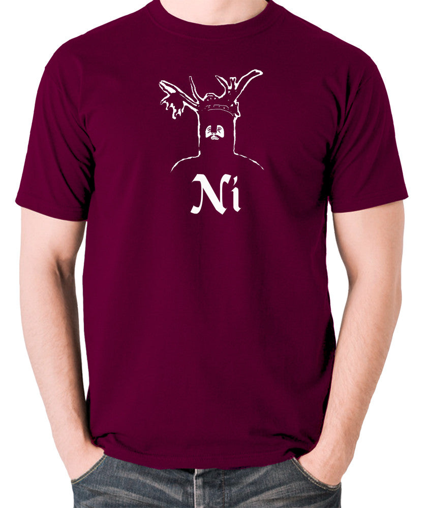 Monty Python and the Holy Grail - The Knights Who Say Ni - Men's T Shirt - burgundy