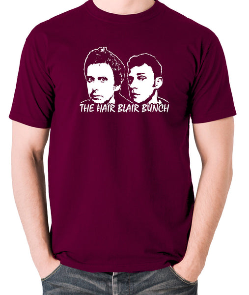 Peep Show - Jeremy and Super Hans, The Hair Blair Bunch - Men's T Shirt - burgundy