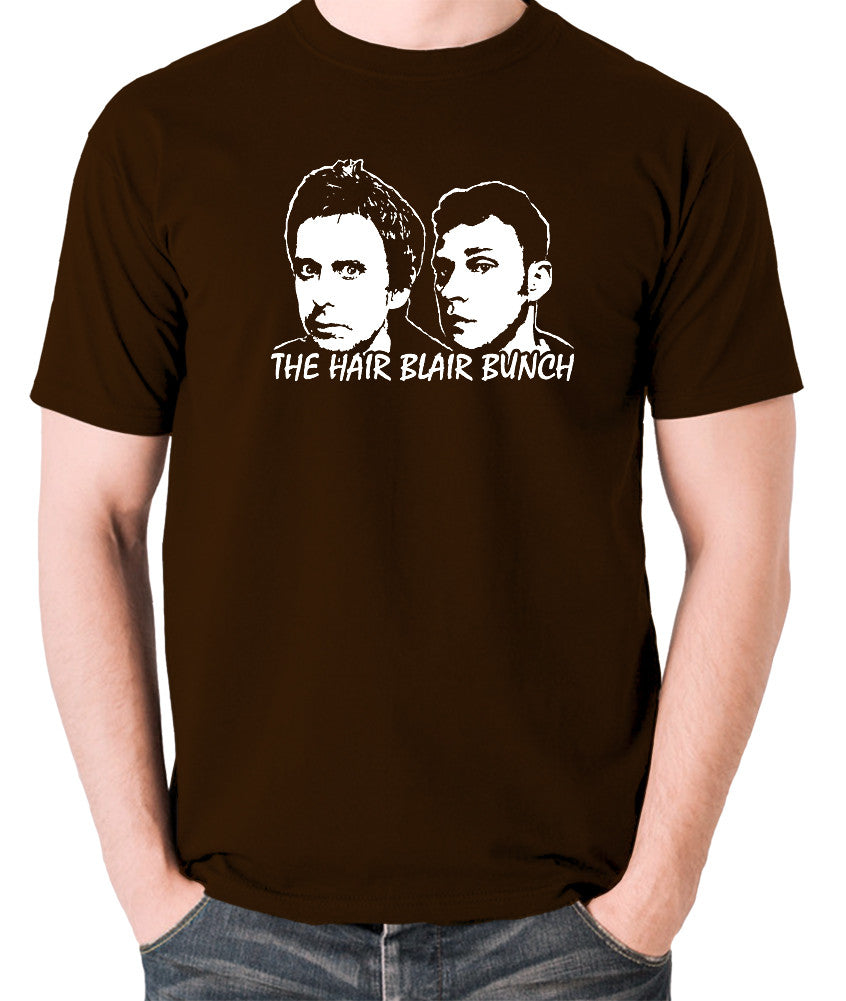 Peep Show - Jeremy and Super Hans, The Hair Blair Bunch - Men's T Shirt - chocolate