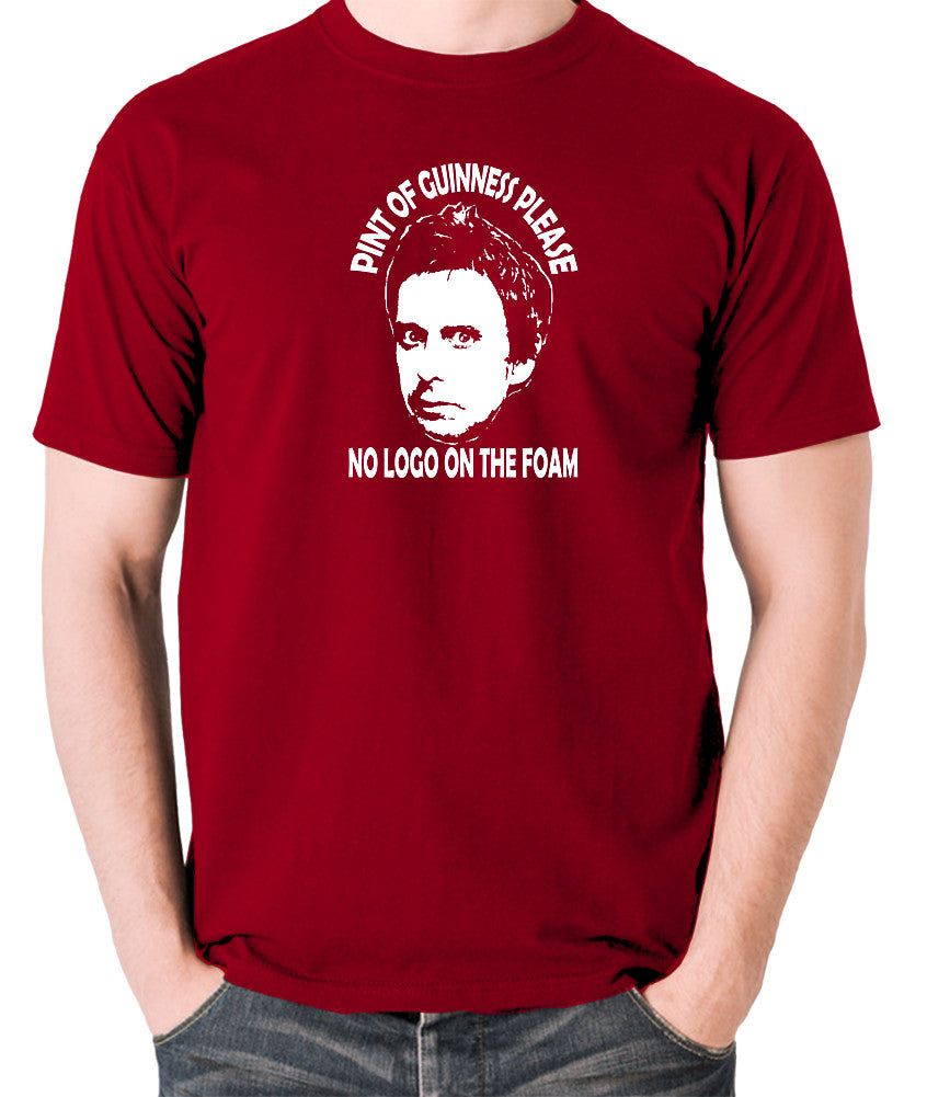 Peep Show - Super Hans, Pint of Guinness Please No Logo in the Foam - Men's T Shirt - brick red
