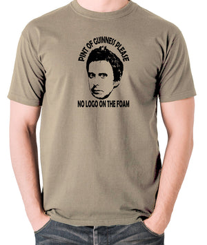 Peep Show - Super Hans, Pint of Guinness Please No Logo in the Foam - Men's T Shirt - khaki