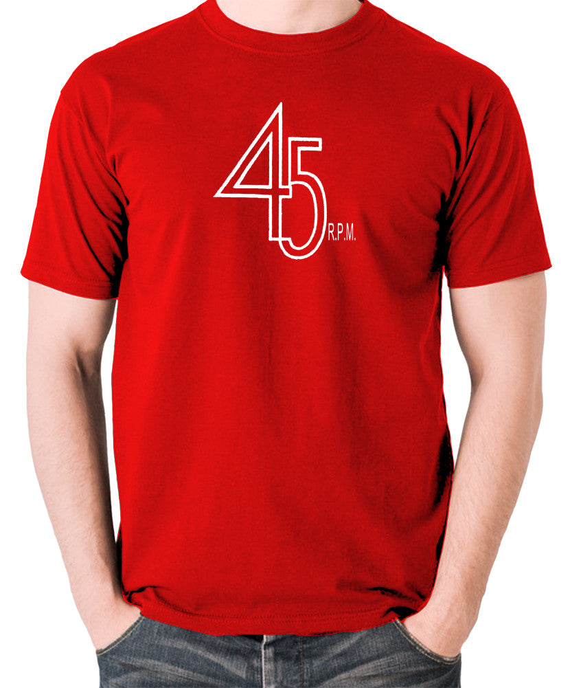 Record Player - 45 RPM Revolutions Per Minute - Men's T Shirt - red