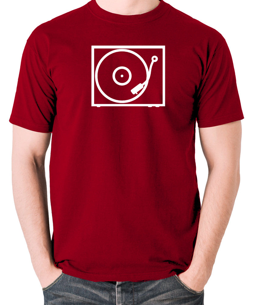 Record Player - Turntable - 1970's Classic - Men's T Shirt - brick red
