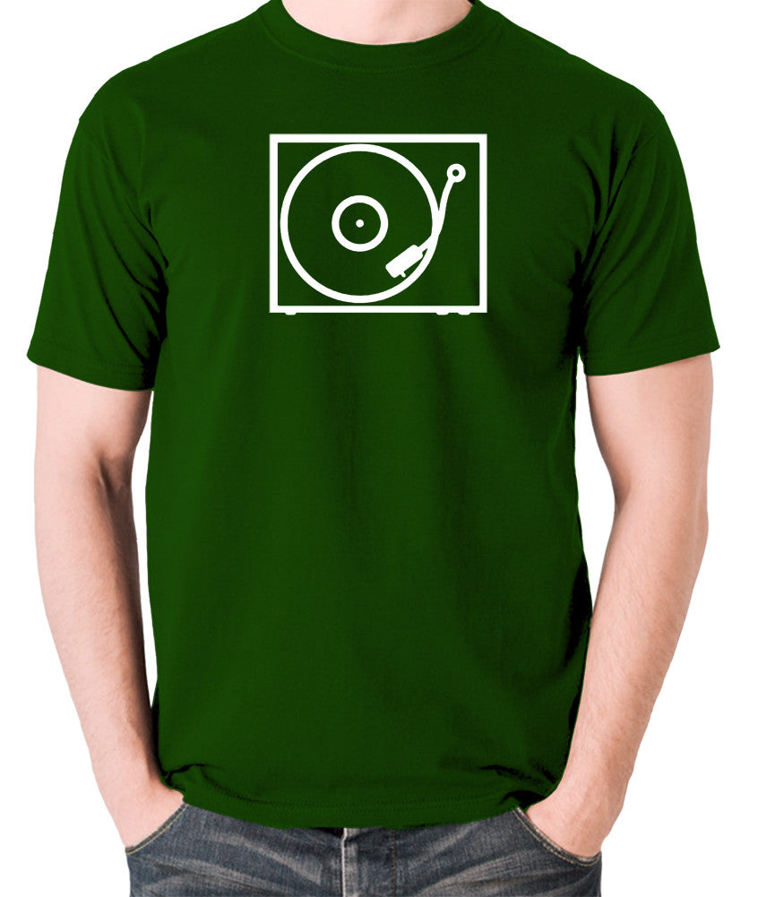 Record Player - Turntable - 1970's Classic - Men's T Shirt - green