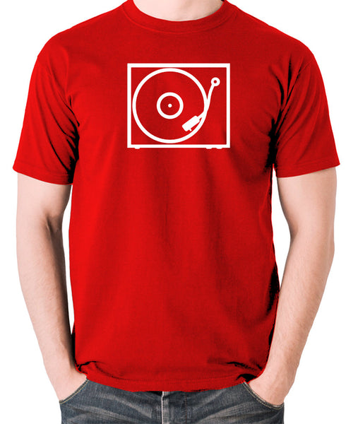 Record Player - Turntable - 1970's Classic - Men's T Shirt - red