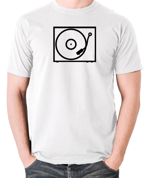Record Player - Turntable - 1970's Classic - Men's T Shirt - white