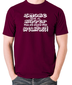 Red Dwarf - Smoke Me A Kipper I'll Be Back For Breakfast - Men's T Shirt - burgundy