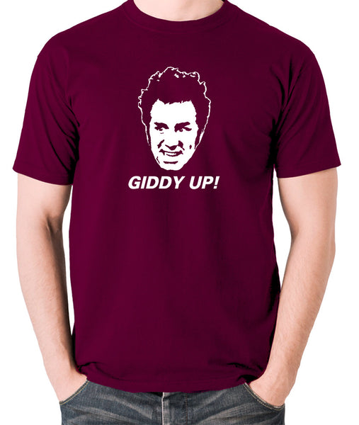 Seinfeld - Cosmo Kramer Giddy Up - Men's T Shirt - burgundy