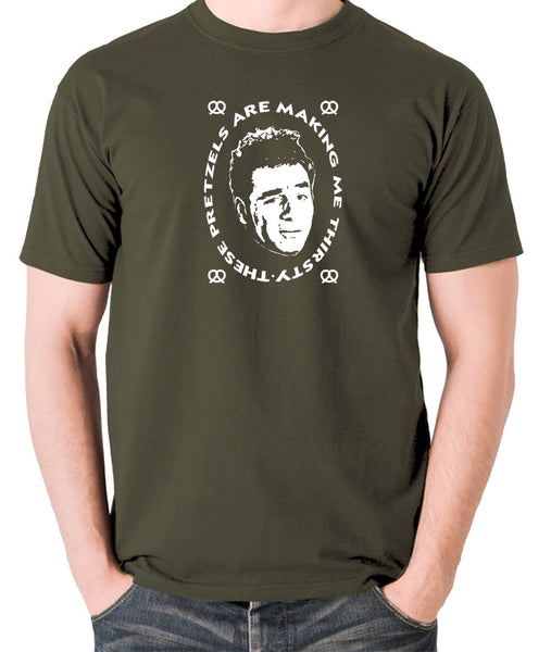 Seinfeld - Kramer, These Pretzels Are Making Me Thirsty - Men's T Shirt - olive