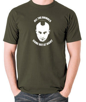 Taxi Driver - Travis Bickle, All The Animals Come Out At Night - Men's T Shirt - olive