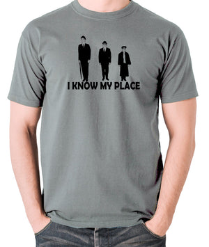 The Frost Report - I Look Down on Him, I Know My Place - Men's T Shirt - grey