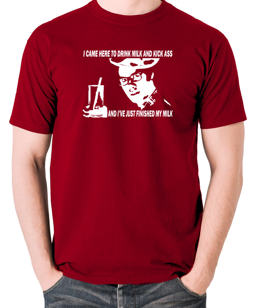 IT Crowd - Moss, I Came Here To Drink Milk And Kick Ass - Men's T Shirt - brick red