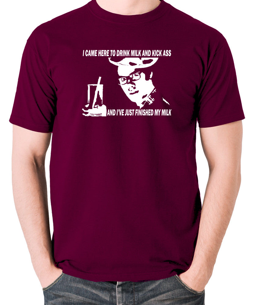 IT Crowd - Moss, I Came Here To Drink Milk And Kick Ass - Men's T Shirt - burgundy