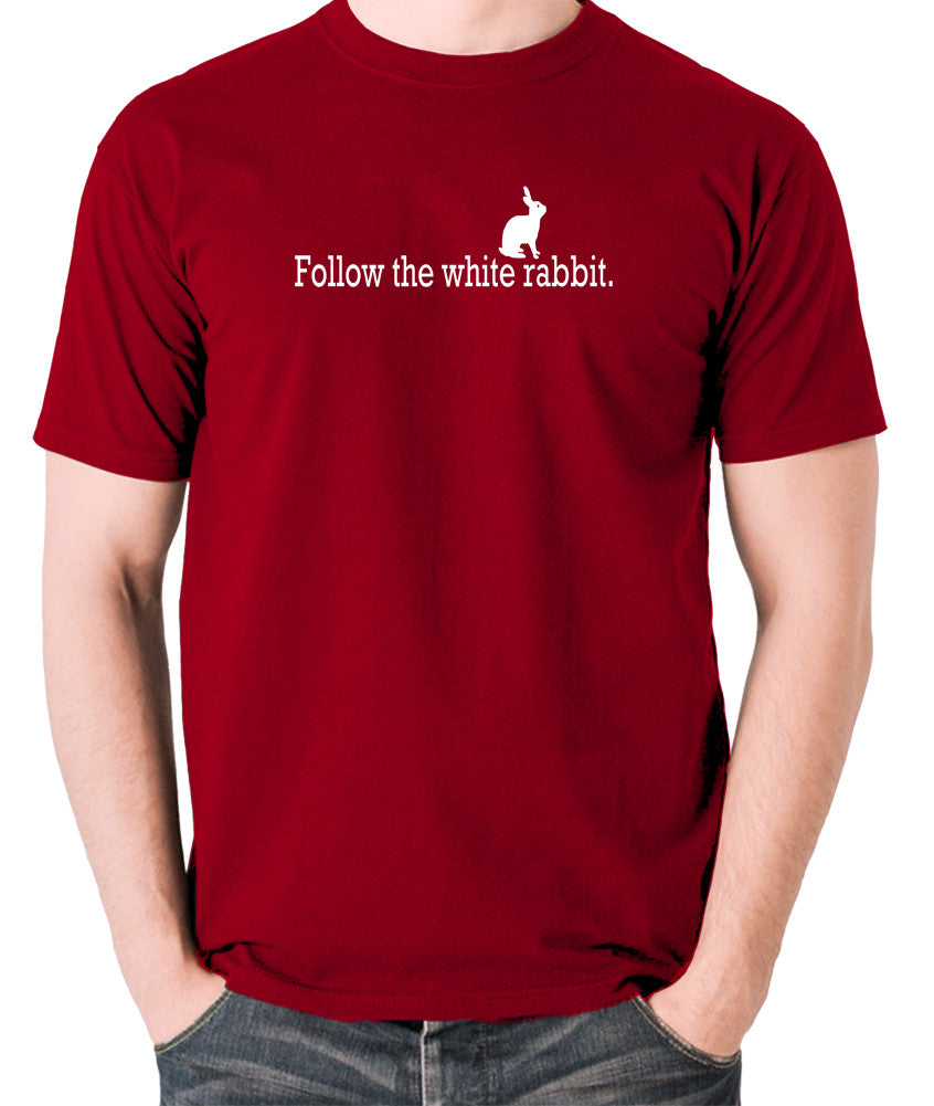 The Matrix - Follow The White Rabbit - Men's T Shirt - brick red