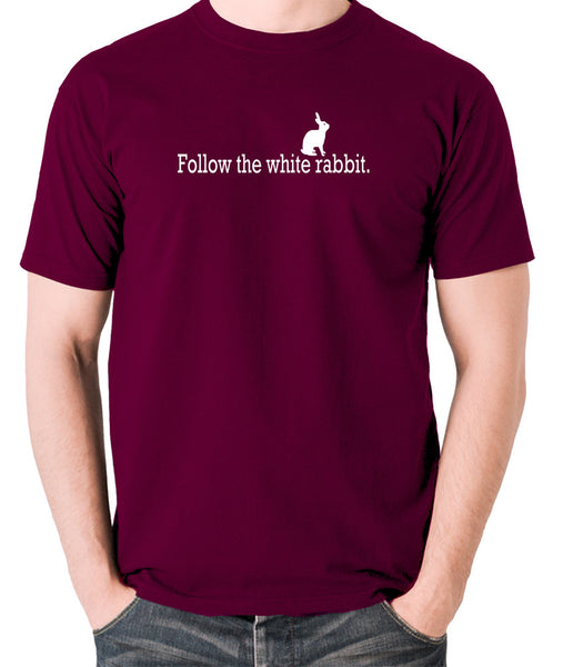 The Matrix - Follow The White Rabbit - Men's T Shirt - burgundy