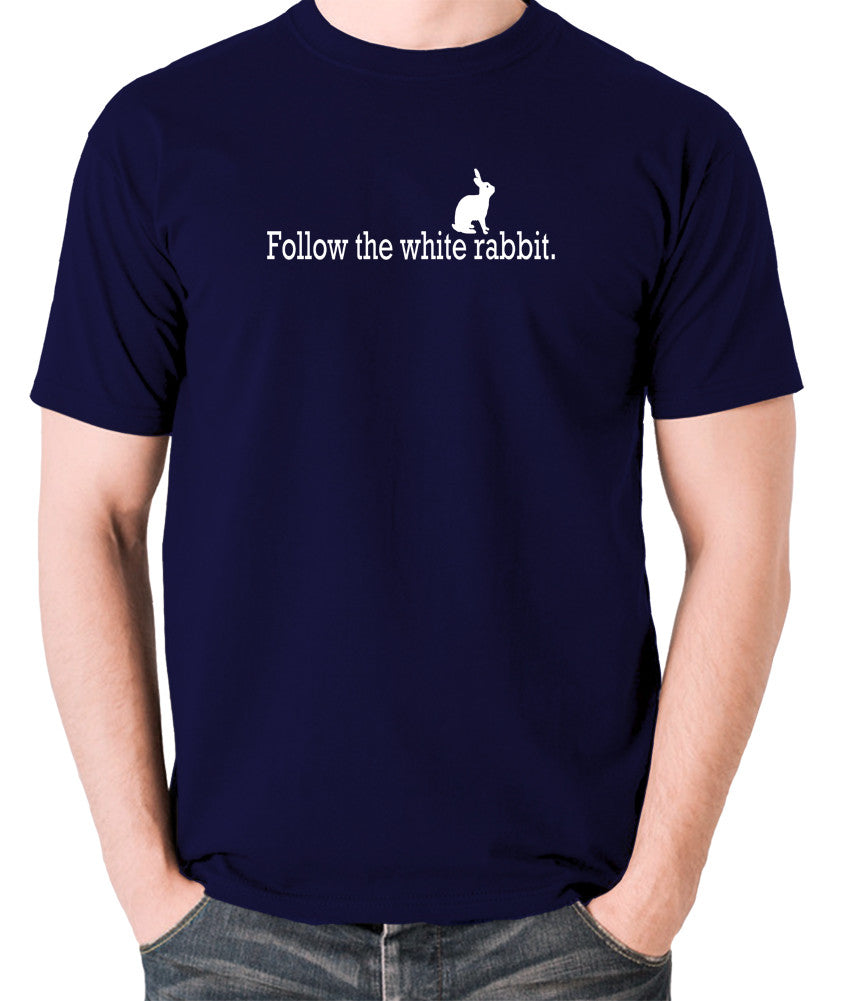 The Matrix - Follow The White Rabbit - Men's T Shirt - navy