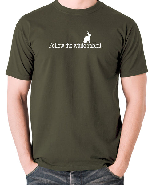 The Matrix - Follow The White Rabbit - Men's T Shirt - olive