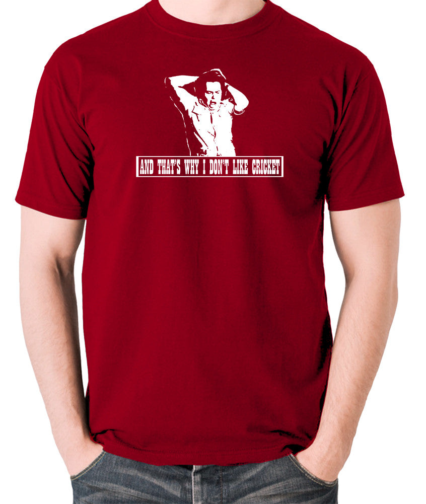 The Mighty Boosh - Bob Fossil, And That's Why I Don't Like Cricket - Men's T Shirt - brick red