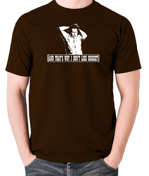 The Mighty Boosh - Bob Fossil, And That's Why I Don't Like Cricket - Men's T Shirt - chocolate