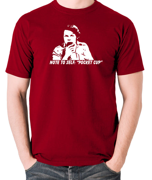 The Mighty Boosh - Bob Fossil Note To Self, Pocket Cup - Men's T Shirt - brick red