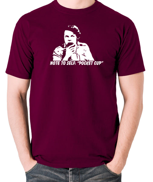 The Mighty Boosh - Bob Fossil Note To Self, Pocket Cup - Men's T Shirt - burgundy