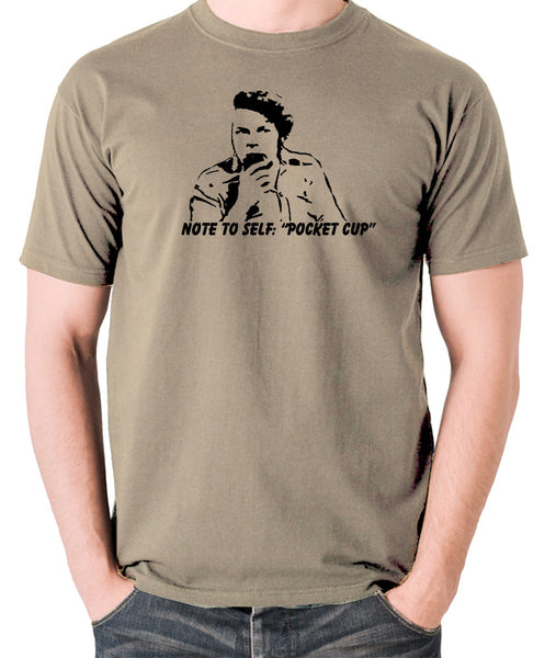 The Mighty Boosh - Bob Fossil Note To Self, Pocket Cup - Men's T Shirt - khaki