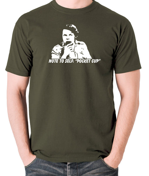 The Mighty Boosh - Bob Fossil Note To Self, Pocket Cup - Men's T Shirt - olive