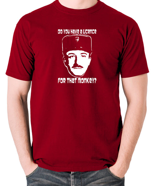 The Pink Panther - Inspector Clouseau, Do You Have A Licence For That Monkey - Men's T Shirt - brick red