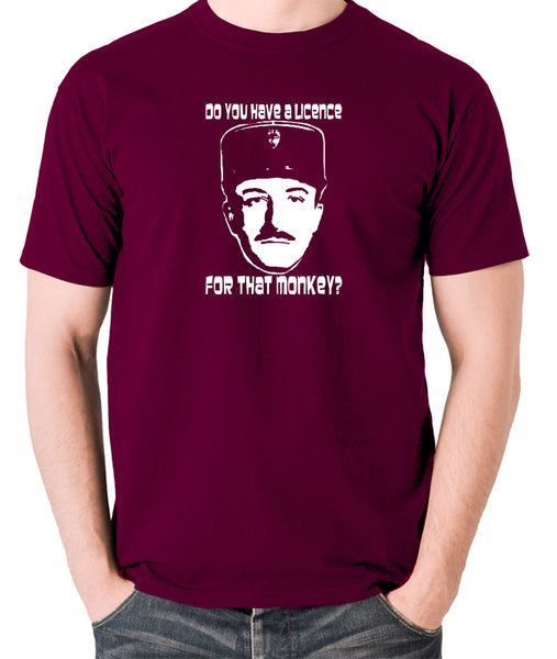 The Pink Panther - Inspector Clouseau, Do You Have A Licence For That Monkey - Men's T Shirt - burgundy