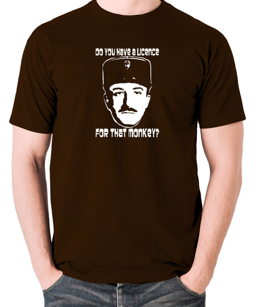 The Pink Panther - Inspector Clouseau, Do You Have A Licence For That Monkey - Men's T Shirt - chocolate
