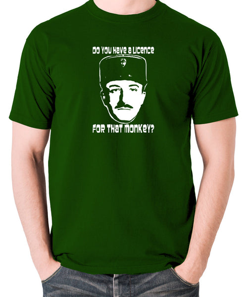 The Pink Panther - Inspector Clouseau, Do You Have A Licence For That Monkey - Men's T Shirt - green