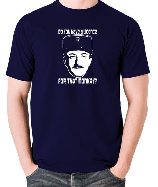 The Pink Panther - Inspector Clouseau, Do You Have A Licence For That Monkey - Men's T Shirt - navy