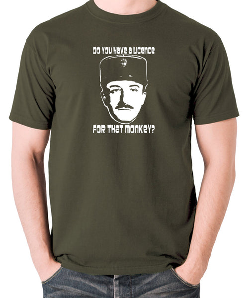 The Pink Panther - Inspector Clouseau, Do You Have A Licence For That Monkey - Men's T Shirt - olive