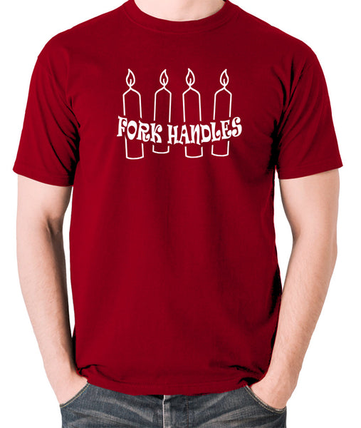 The Two Ronnies - Four Candles Fork Handles - Men's T Shirt - brick red