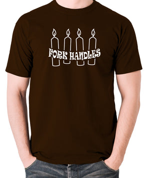 The Two Ronnies - Four Candles Fork Handles - Men's T Shirt - chocolate