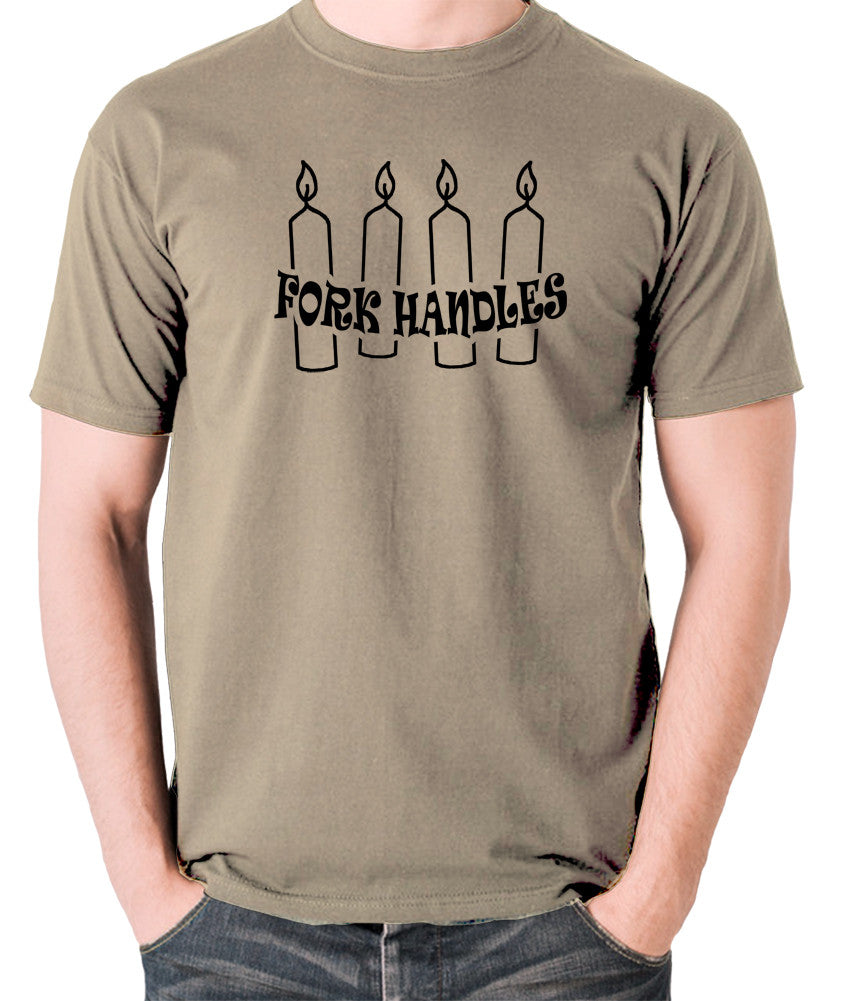 The Two Ronnies - Four Candles Fork Handles - Men's T Shirt - khaki