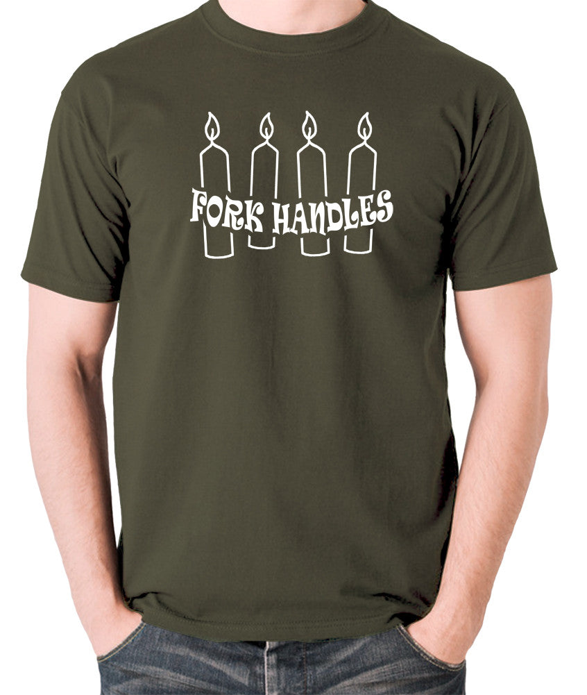 The Two Ronnies - Four Candles Fork Handles - Men's T Shirt - olive