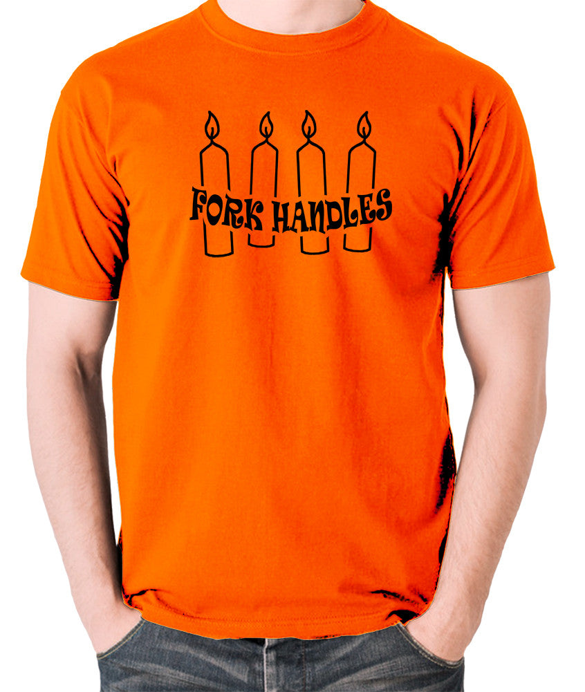 The Two Ronnies - Four Candles Fork Handles - Men's T Shirt - orange
